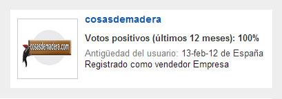Perfil de cosasdemadera.com en eBay