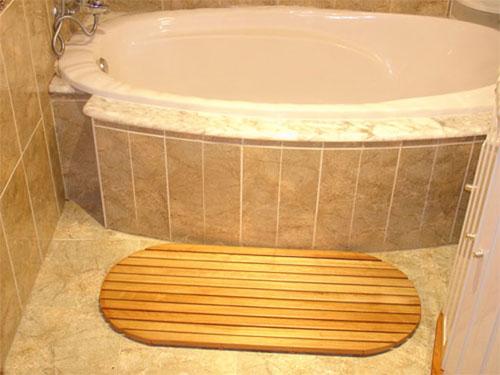 Alfombrilla 94x42 antideslizante ovalada tarima para - Tarimas para ducha ...