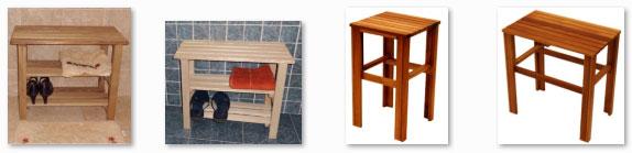 Banco estanteria taburete para cuartos de ba o madera de iroko taburetes ebay - Bancos de madera para banos ...
