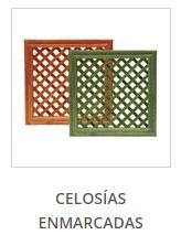 Celosías de madera enmarcadas y tratadas para exterior